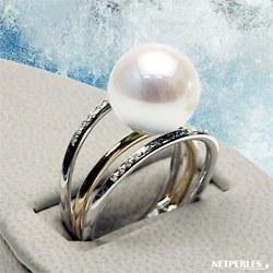 Bague Or 18k Diamants Perle d'Eau Douce 10-11 mm DOUCEHADAMA