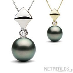 Pendentif en Or et diamant, Perle noire de Tahiti