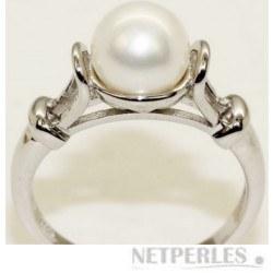 Bague Argent 925 avec perle d'eau douce blanche 7-8 mm