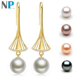 Boucles d'Oreilles Or 18k diamants perles d'eau douce 10-11 mm AAA