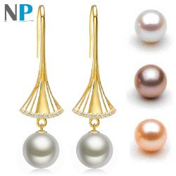 Boucles d'Oreilles Or 18k diamants perles d'eau douce 10-11 mm DOUCEHADAMA