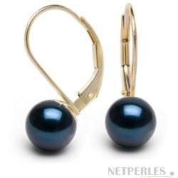 Boucles d'Oreilles Dormeuses Or 14k Perles d' Akoya noires