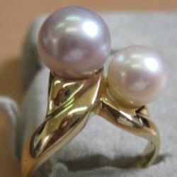 Bague en or 18k avec 2 perles de culture d'Eau Douce qualité AAA