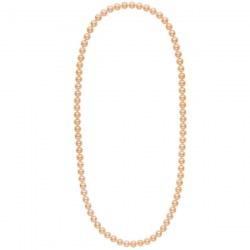 Long collier de perles d'eau douce couleur pêche de 9 à 10 mm 70 cm