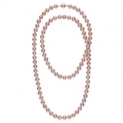 Très long collier de perles d'eau douce Lavandes 8 à 9 mm 114 cm