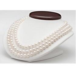 Collier trois rang 41/43/45 cm perles d'eau douce Blanches 9 à 10 mm