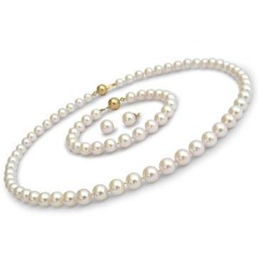Parure 3 bijoux de perles Akoya 7,0 à 7,5 mm 40/18 cm