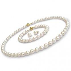 Parure 3 bijoux de perles Akoya 7,5 à 8,0 mm 40/18 cm