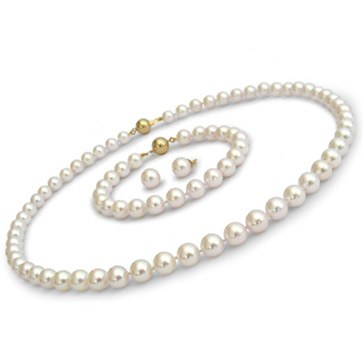 Parure 3 bijoux de perles Akoya 7,5 à 8,0 mm 45/18 cm
