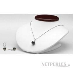 Parure 2 bijoux : Pendentif et Boucles d'oreilles de perles de Tahiti et diamants