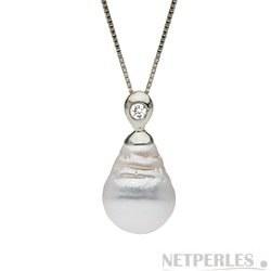 Pendentif Argent 925, diamant, perle d'Australie baroque à partir de 9 à 10 mm