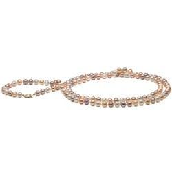 Long collier de perles d'Eau Douce multicolores 7-8 mm, 114 cm