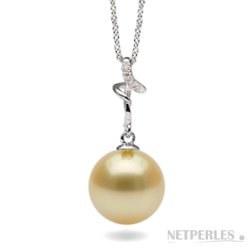 Pendentif Argent 925, diamant, perle des Philippines dorée à partir de 9 à 10 mm
