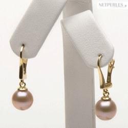 Boucles d'oreilles Dormeuses avec perles d'Eau Douce qualité Doucehadama Pêches