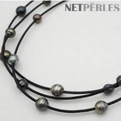 Collier 13+1 perles de Tahiti baroques 9-10 mm sur 3 liens de cuir entrelacés