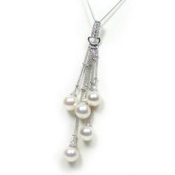 Pendentif Argent 925 et 5 perles Akoya AAA et Diamants