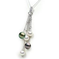 Pendentif Or 14k et 3 perles Akoya 7-7,5 mm et 2 Tahiti 8-9 mm AAA et diamants