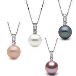 Pendentif Or 14k diamants et perle de culture d'Eau Douce AAA