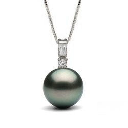 Pendentif en Or 14k avec perle de culture de Tahiti et diamants