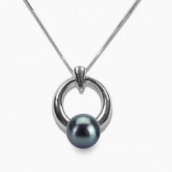 Pendentif en Or Gris 14k Perle d'Eau Douce Noire 6-7 mm qualité AAA