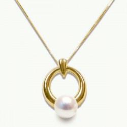 Pendentif Or 14k avec perle blanche d'Akoya 6,5-7 mm AAA