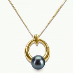 Pendentif en Or Jaune 14k Perle d'Eau Douce Noire 6-7 mm qualité AAA