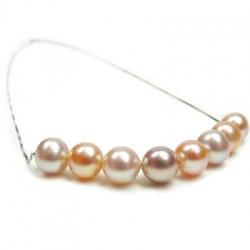 Collier de 8 perles d'Eau Douce fixées sur chaîne 40 cm en argent 925