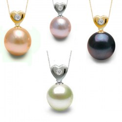 Pendentif Coeur Or et diamant avec perle d'eau douce AAA