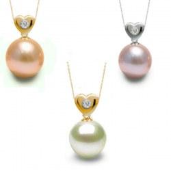 Pendentif Coeur Or 14k diamant avec perle d'eau douce DOUCEHADAMA
