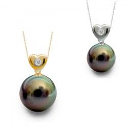 Pendentif coeur Or 14 carats diamant perle de Tahiti 8-9 mm Qualité AAA