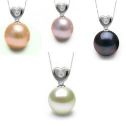 Pendentif Coeur Argent et diamant avec perle d'eau douce AAA
