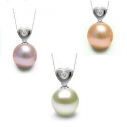 Pendentif Coeur Argent 925 diamant perle d'eau douce DOUCEHADAMA