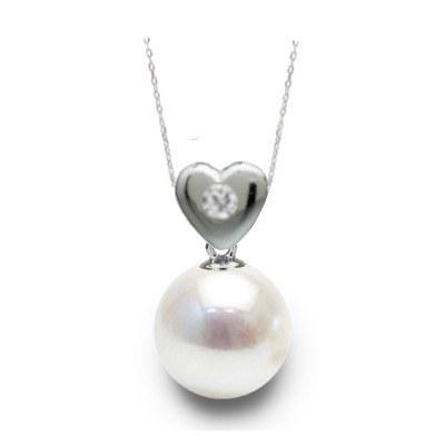 Pendentif Coeur Argent et diamant avec perle Akoya blanche AAA