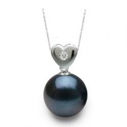 Pendentif coeur Or 18k et diamant avec perle noire Akoya AAA