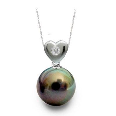Pendentif Coeur Argent et diamant avec perle noire de Tahiti AAA