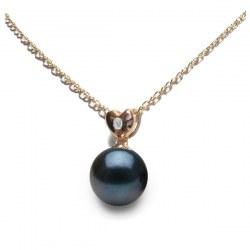 Pendentif coeur Or rose 14k Diamant Perle noire d'Akoya qualité AAA