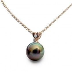 Pendentif coeur Or Rose 18k diamant et perle noire de Tahiti 8-9 mm Qualité AAA