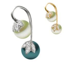 Pendentif Or 14k diamants et 2 perles d'eau douce noire et blanche AAA