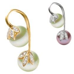 Pendentif Or 14k diamants et 2 perles d'eau douce AAA