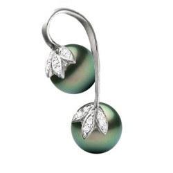 Pendentif or 14k diamants et deux perles de culture noires de Tahiti