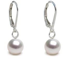 Boucles d'Oreilles en Argent 925 et perles de culture d'Akoya blanches à partir de 7-7,5 mm
