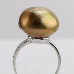 Bague Argent 925 avec perle d'eau douce baroque métallique cuivre de 15,5 mm