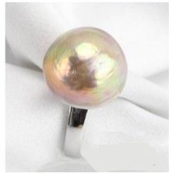 Bague Argent 925 avec perle d'eau douce baroque métallique lavande de 15,5 mm