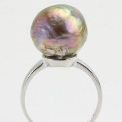 Bague Argent 925 avec perle d'eau douce baroque métallique multireflet de 13,5 mm