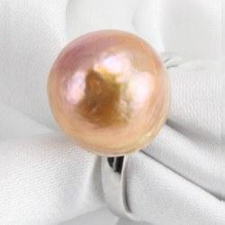 Bague Argent 925 perle d'eau douce métallique rose pêche de 14 mm