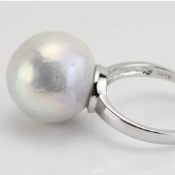 Bague Argent 925 avec perle d'eau douce baroque extraordinaire de 15,5 mm