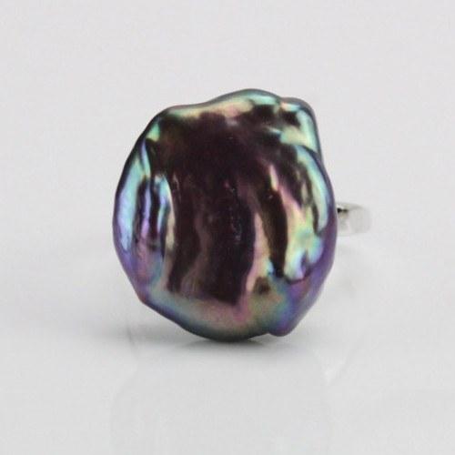 Bague Argent 925 avec perle d'eau douce métallique violine de 17,5 mm