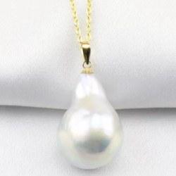 Pendentif et sa chaine Plaqué Or, Perle Eau Douce Baroque 15 sur 20 mm Blanche