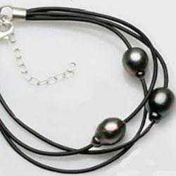Bracelet 3 liens Cuir Argent 925 18-22 cm, 3 perles 9-10 mm Tahiti DROP AA+