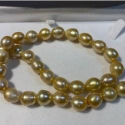 Collier de perles dorées baroques des Philippines en forme goutte